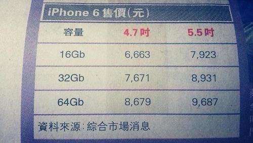 ,Apple,苹果发布会前最靠谱爆料:iPhone 6港版售价约5280元起