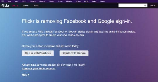 雅虎旗下Flikr网站确认在7月初取消Facebook和谷歌账号登陆
