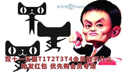 ,双十一天猫T1T2T3T4会员能干什么:抢发红包 优先购 会员专场