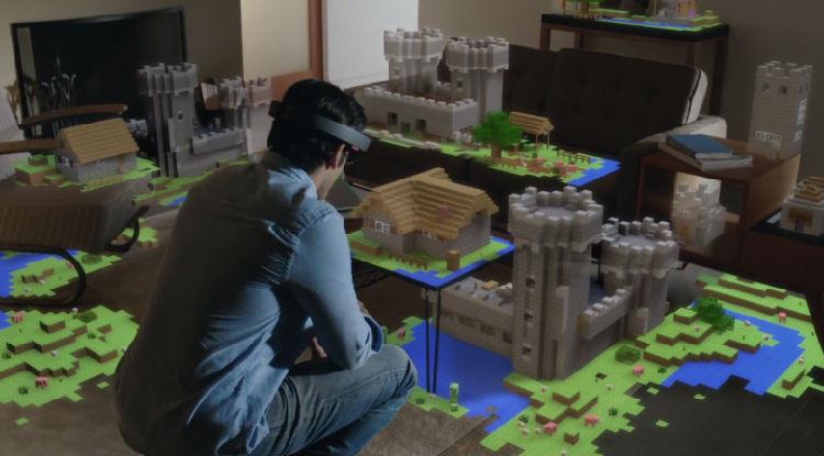 """用微软全息眼镜Holographic玩""""我的世界"""" 你还会想要工作吗?"""