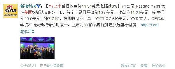 微博记者站:多玩YY在纳斯达克挂牌强势上市 李学凌对此次上市信心十足