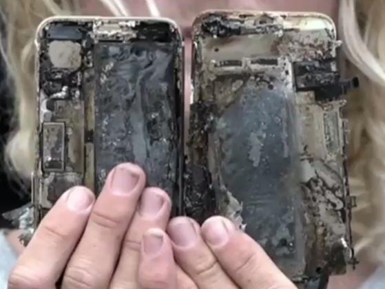 苹果iPhone7自燃起火烧毁轿车 三星Note7炸到日本