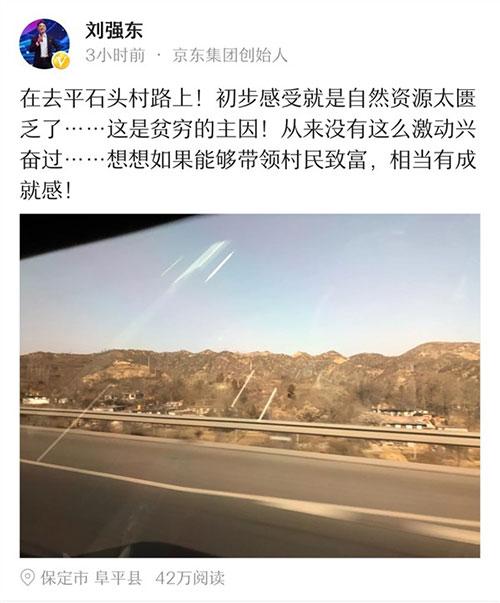 ,刘强东,刘强东上任河北平石头村村长