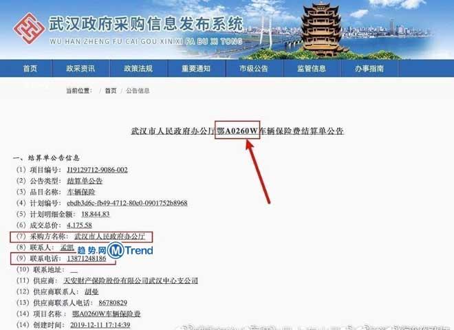 , 热点:鄂A0260W和武汉市政府办公厅什么关系?